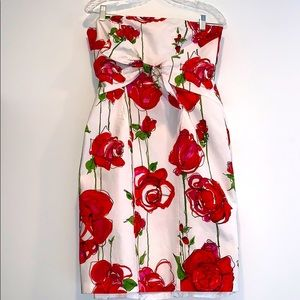 David Meister Red Rose Tube Top Bow Accent Dress